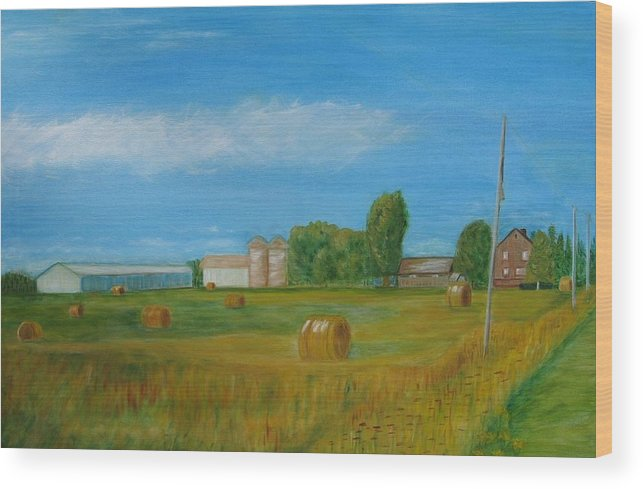Landscape Wood Print featuring the painting Sunny Day Summer by Patricia Ortman