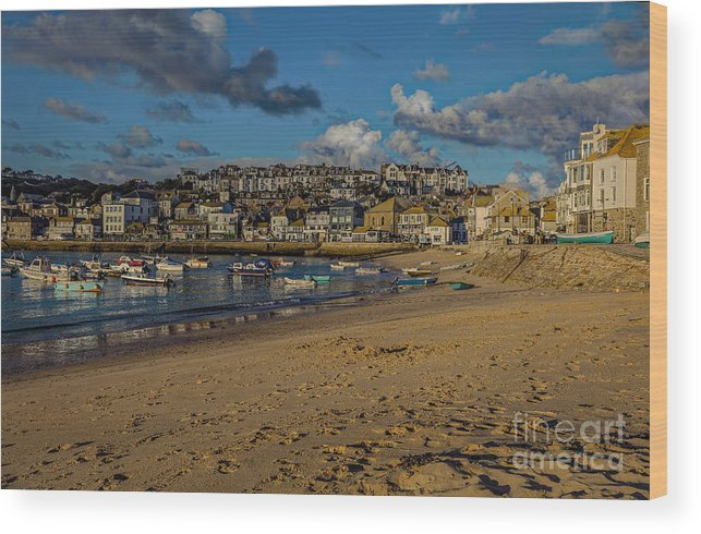 St Ives Wood Print featuring the photograph Sunrise At St Ives by Philip Pound