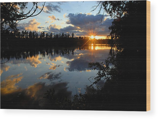 Boundary Waters Canoe Area Wilderness Wood Print featuring the photograph Sunset On Polly Lake by Larry Ricker
