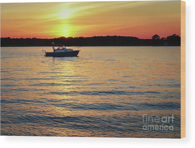Boat Wood Print featuring the photograph Sunset On The Strand by Janet Barnes