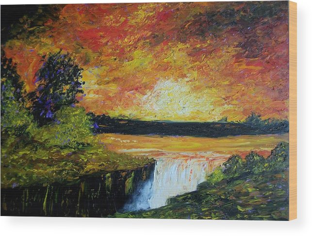 Sunset Wood Print featuring the painting Sunset Over The Lake by Tami Booher