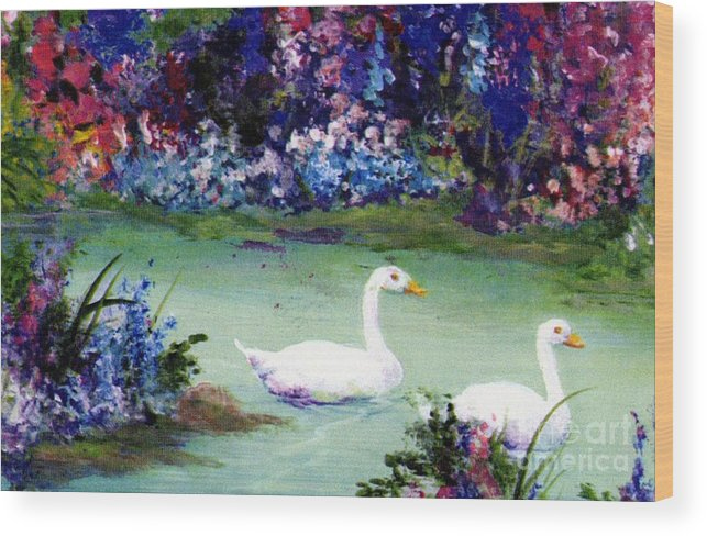 Writermore Wood Print featuring the mixed media Swan Lake by Writermore Arts