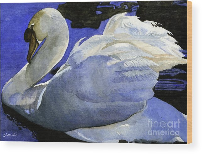 Swan Wood Print featuring the painting Swan by Shari Nees