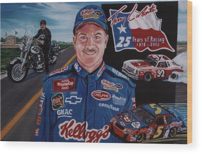 Portrait Wood Print featuring the painting Terry Labonte by Diann Baggett