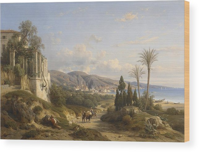 L�on Fleury (1804-1858) Wood Print featuring the painting The Bay Of Naple by MotionAge Designs