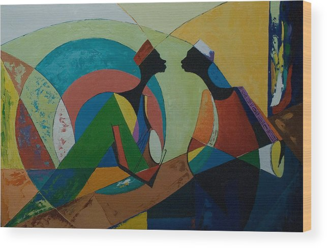 Wood Print featuring the painting The Duet by Alfred Awonuga