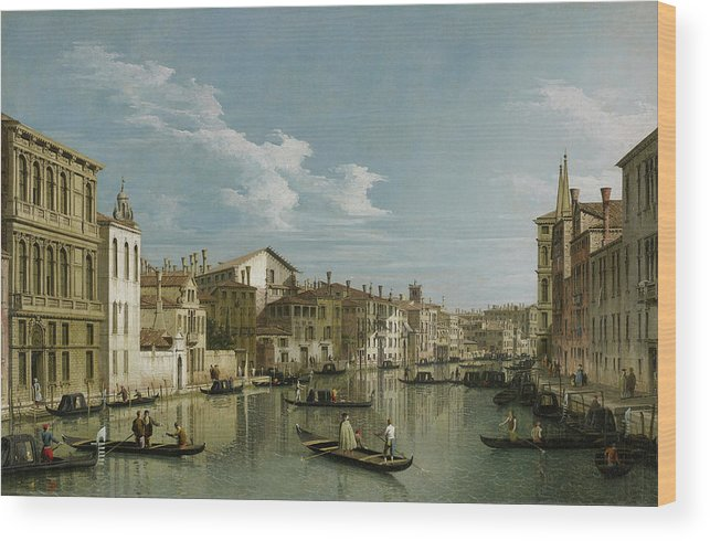 Canal Wood Print featuring the painting The Grand Canal In Venice From Palazzo Flangini To Campo San Marcuola by Giovanni Antonio Canal