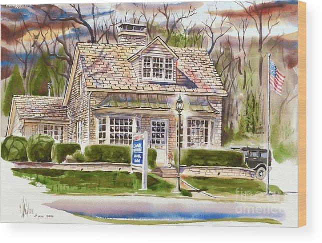The Greystone Inn In Brigadoon Wood Print featuring the painting The Greystone Inn In Brigadoon by Kip DeVore