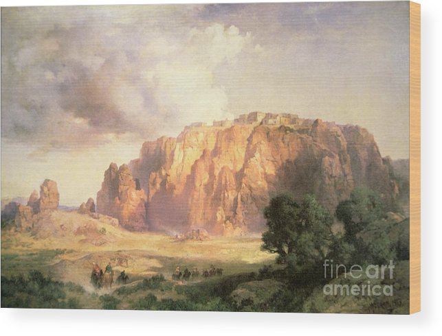 The Pueblo Of Acoma Wood Print featuring the painting The Pueblo Of Acoma In New Mexico by Thomas Moran