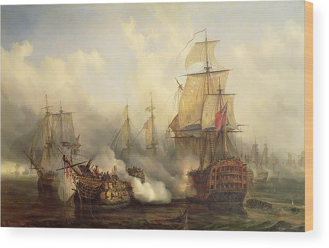 The Wood Print featuring the painting Unknown Title Sea Battle by Auguste Etienne Francois Mayer