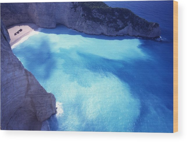 Bay; Beach; Day; Europe; Greece; Ionian Wood Print featuring the photograph The Shipwreck by Steve Outram