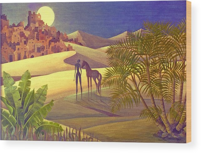 Desert Moon Ancient City Horse Quest Jungle Mystery Wood Print featuring the painting The Traveller by Jennifer Baird