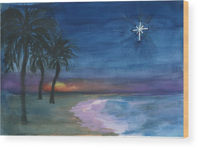 Palm Trees Wood Print featuring the painting Tropical Christmas by Donna Walsh