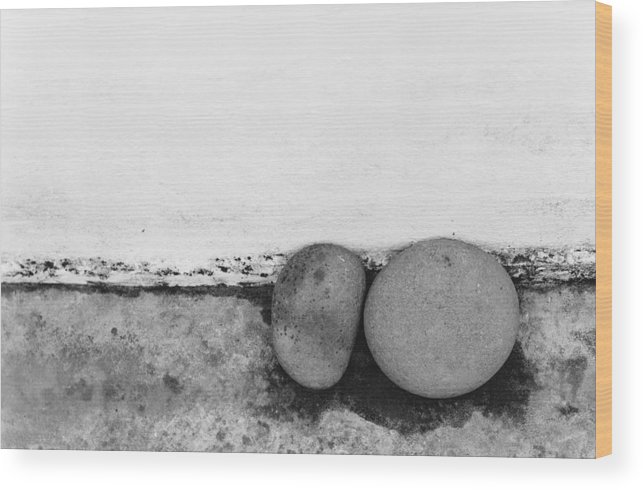 Abstract Wood Print featuring the photograph Two Stones - Sao Miguel - Azores by Henry Krauzyk