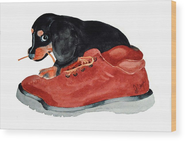 Puppy Wood Print featuring the painting Uh Oh by Pat Yager