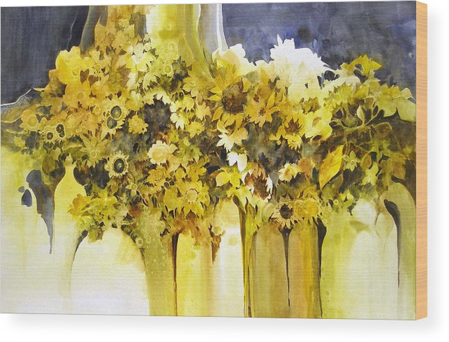 Yellow Flowers;sunflowers;vases;floral;contemporary Floral; Wood Print featuring the painting Vases Full Of Blooms  by Lois Mountz