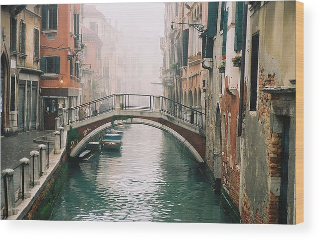 Venice Wood Print featuring the photograph Venice Canal II by Kathy Schumann