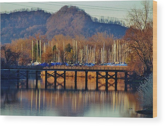 Hudson Valley Landscapes Wood Print featuring the photograph View Of A Bridge by Thomas McGuire