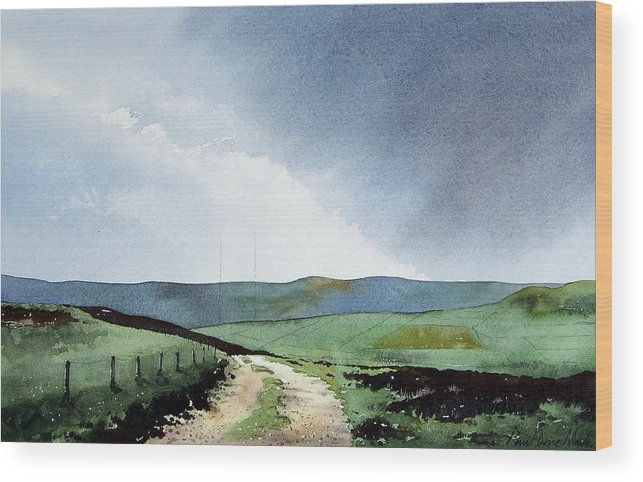 Landscape Wood Print featuring the painting View Over Pole Moor by Paul Dene Marlor