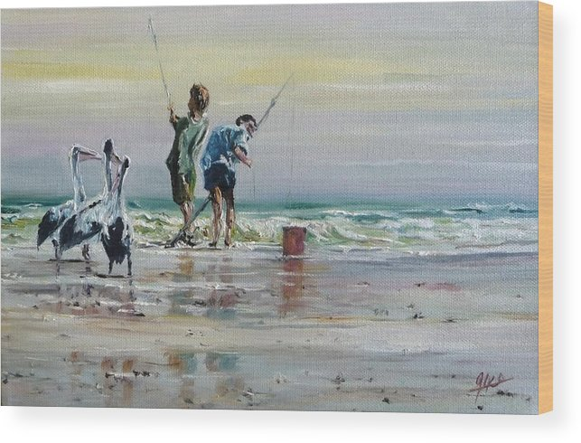 Seascape Wood Print featuring the painting Waiting For A Feed by Diko