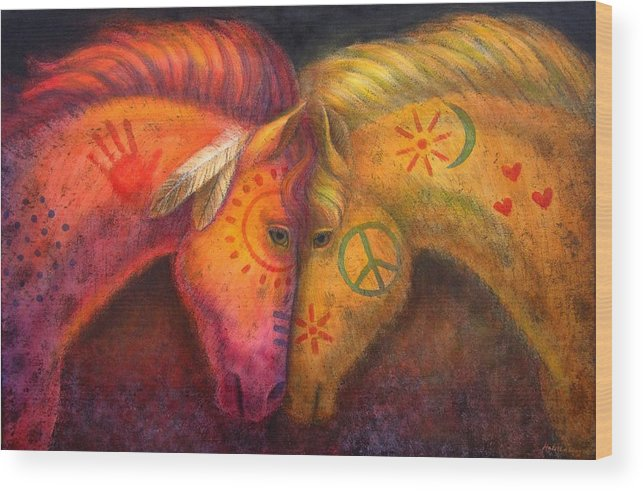 Horse Wood Print featuring the painting War Horse And Peace Horse by Sue Halstenberg