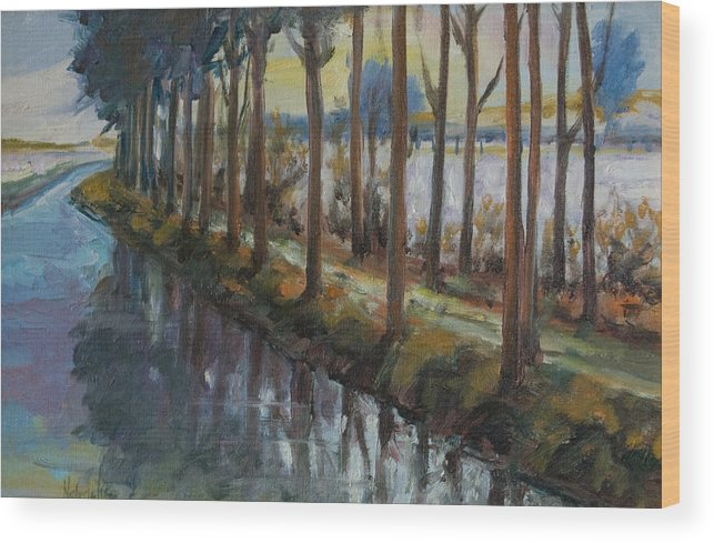 Trees Wood Print featuring the painting Waterway by Rick Nederlof
