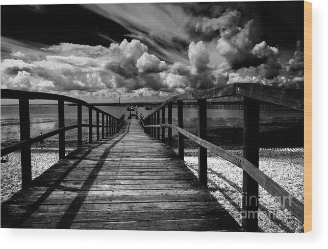Southend On Sea Wharf Clouds Beach Sand Wood Print featuring the photograph Wharf At Southend On Sea by Sheila Smart Fine Art Photography