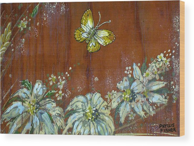 Wildflowers Wood Print featuring the painting Wheat 'n' Wildflowers IIi by Phyllis Mae Richardson Fisher