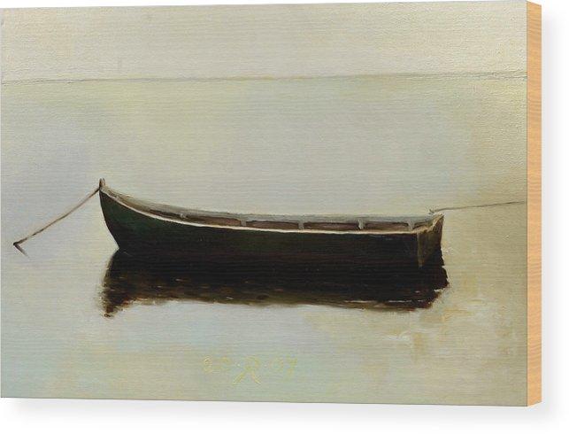 Landscape Boat Quiet Light Wood Print featuring the painting White Day by Raimonda Jatkeviciute-Kasparaviciene