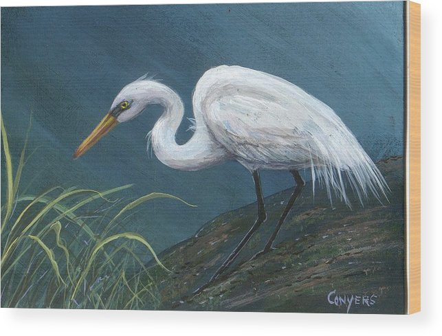 Heron Wood Print featuring the painting White Heron by Peggy Conyers