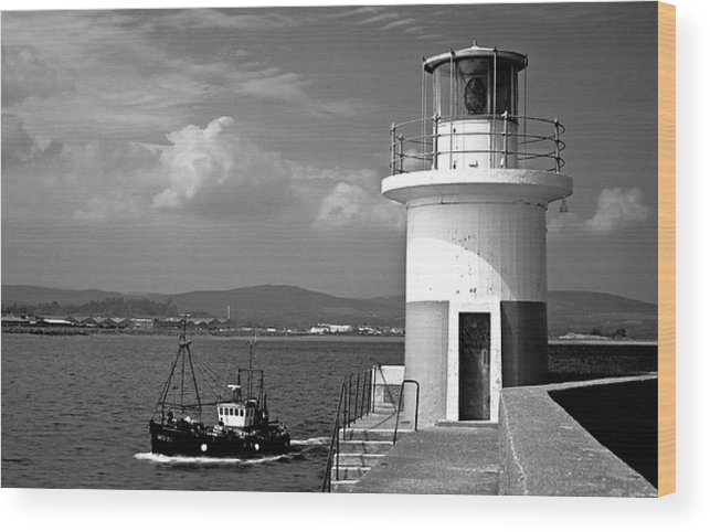 Places Wood Print featuring the photograph Wicklow Lighthouse Ireland by Celine Pollard
