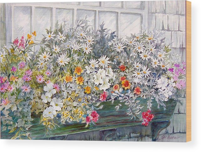 Floral;daisies;pastels; Wood Print featuring the painting Window Box In The Sun by Lois Mountz