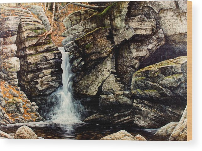 Waterfall Wood Print featuring the painting Woodland Falls by Frank Wilson