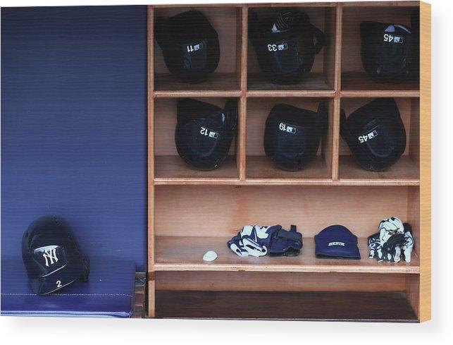 Headwear Wood Print featuring the photograph Kansas City Royals V New York Yankees 1 by Elsa