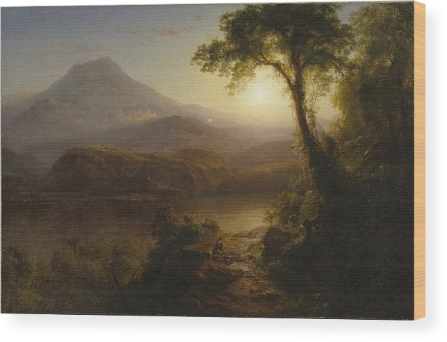 Tropical Scenery Wood Print featuring the painting Tropical Scenery by Frederic Edwin Church