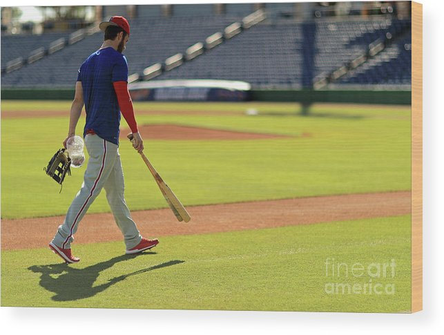 Working Wood Print featuring the photograph Philadelphia Phillies Bryce Harper by Mike Ehrmann