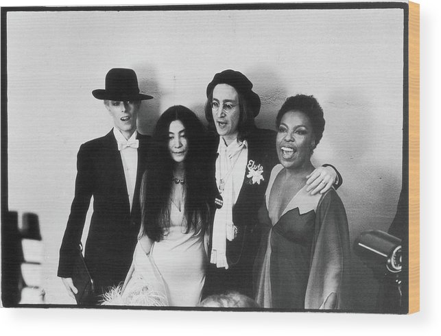 Artist Wood Print featuring the photograph Bowie, Ono, Lennon, & Flack At The by Fred W. McDarrah