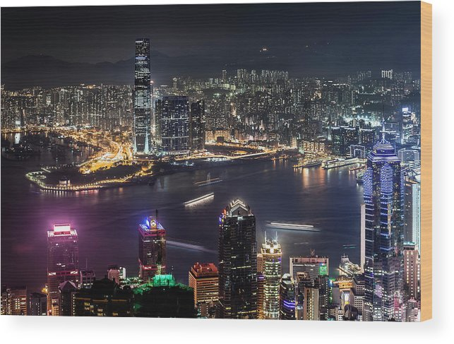 Hongkong Night View From Peak Wood Print