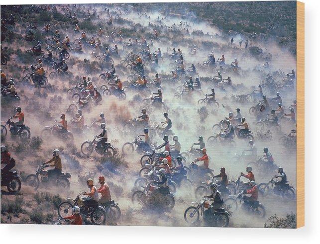 Crash Helmet Wood Print featuring the photograph Mint 400 Motocross Race by Bill Eppridge