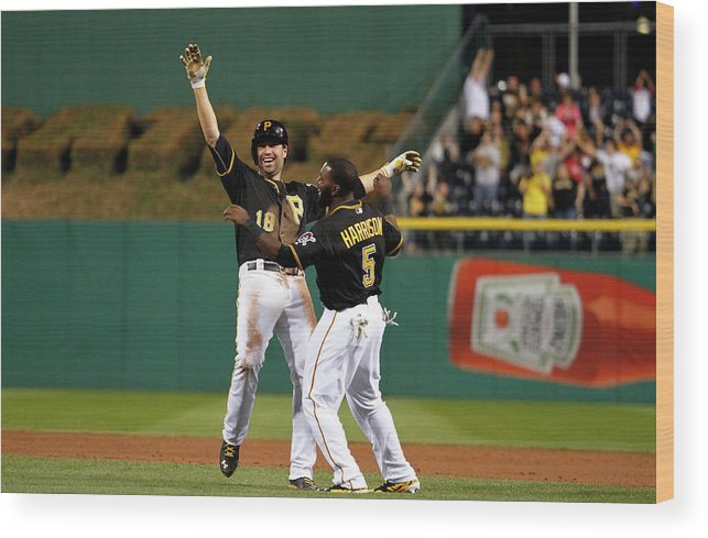 Ninth Inning Wood Print featuring the photograph Josh Harrison And Neil Walker by Justin K. Aller