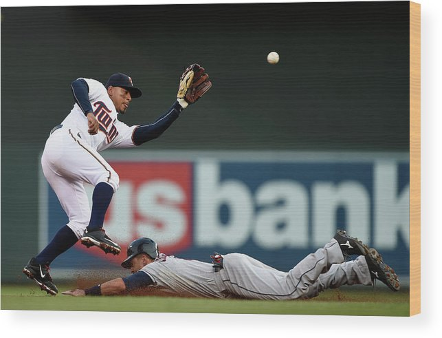 Second Inning Wood Print featuring the photograph Lonnie Chisenhall And Eduardo Escobar by Hannah Foslien