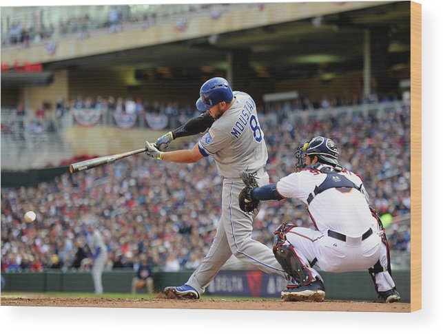 Second Inning Wood Print featuring the photograph Mike Moustakas by Hannah Foslien