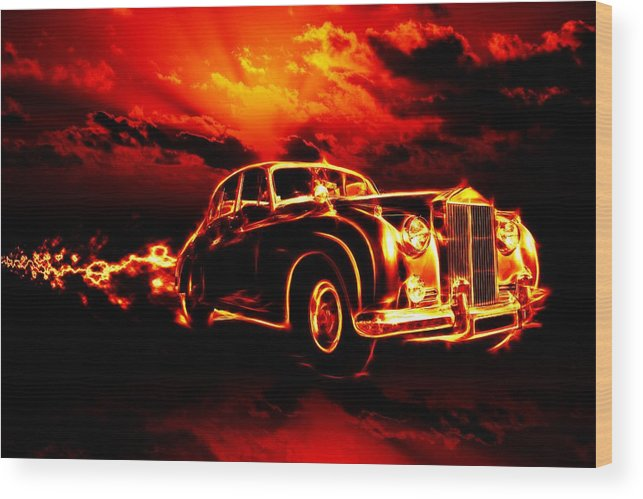 Sky Wood Print featuring the painting Fire Flame Hell Classic Car City by Tian Chen
