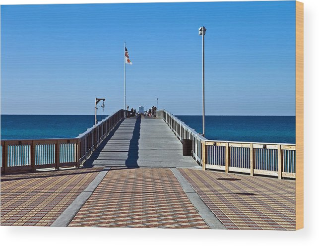 Wooden Wood Print featuring the photograph Fishing Pier by Susan Leggett