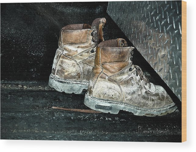 Still Life Wood Print featuring the photograph His Work Boots by Marvin C Brown