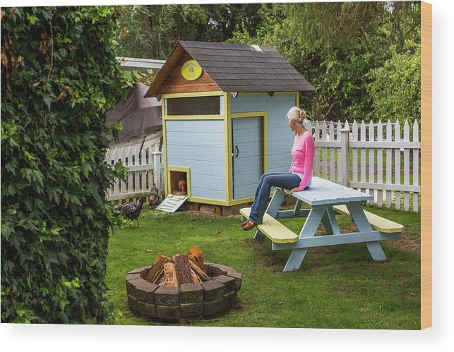 Full Length Wood Print featuring the photograph A Backyard Chicken Coop In Bellingham by Michael Hanson
