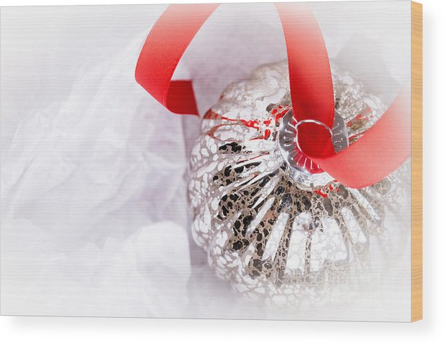 Aged Wood Print featuring the photograph Antique Glass Christmas Tree Bauble by Jane Rix
