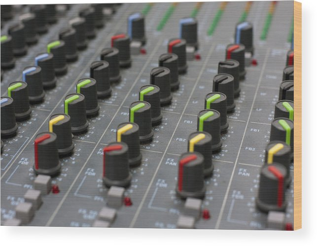 Adjust Wood Print featuring the photograph Audio Mixing Board Console by Gunter Nezhoda