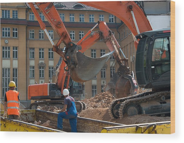 Demolition Wood Print featuring the photograph Demolition Vehicles At Work by Frank Gaertner