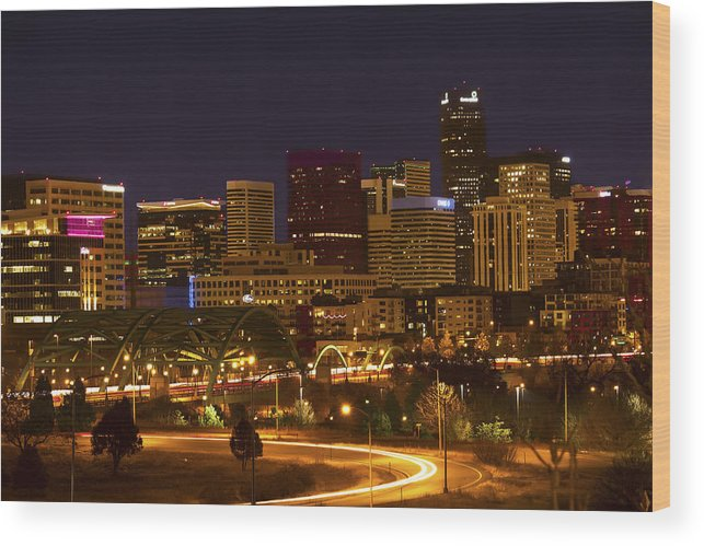 Nighttime Wood Print featuring the photograph Denver Skyline by Amy Fregoso